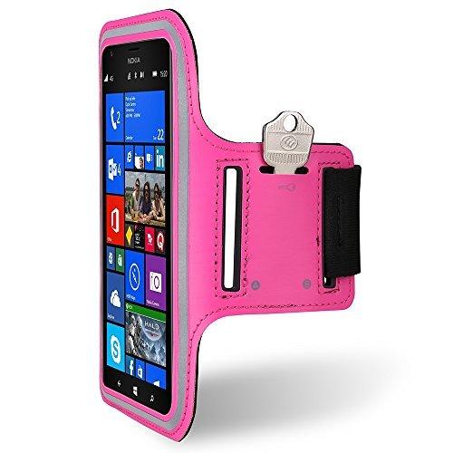 Premium Workout Sportarmband mit Tasche Schutzhülle für LG V20/LG Stylo 3/LG Q6/LG X Power 2/Motorola Moto G5S Plus/E4Plus/Z2Play/Alcatel Idol 5S/A50/A30Plus, Rose
