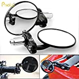 #4: Pivalo Motorcycle Rear View Side Mirror Black 3 inch Round 7/8 inch Handle Bar End Side Mirrors for Harley Davidson Honda Kawasaki Suzuki Yamaha Bajaj KTM