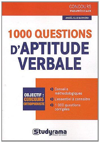 1000 questions d'aptitude verbale par Angélique Barneto