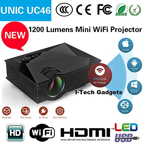 "I-Tech UNIC HD Cheap 100"" Inch Multimedia LED LCD Projector Home Cinema Theater Supports - HDMI USB VGA AV SD Card (Just Plug USB & Play HD Movies)"