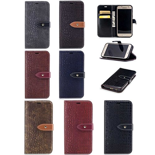 iPhone 7 Plus 5,5Zoll Leder Hülle,iPhone 7 Plus Luxus Schutzhülle,TOYYM Krokodil Haut Muster Design PU Leder Flip Wallet Brieftasche Case mit [Kartensteckplätze][Standfunktion],Bookstyle Klapphülle Fo Farbe 1