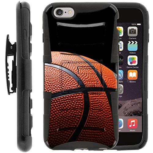 turtlearmor | Kompatibel für Apple iPhone 6Hülle | iPhone 6S Schutzhülle [Hyper Schock] Armor Massiv Hybrid Auswirkungen Silikon Holster Gürtelclip Sport und Spiel Design -, Basketball Seams (Virgin Mobile-handys Iphone 4)