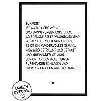 Zuhause & Familie - Kunstdruck auf wunderbarem Hahnemühle Papier DIN A4 -ohne Rahmen- schwarz-weißes Bild Poster zur Deko im Büro / Wohnung / als Geschenk Mitbringsel zum Geburtstag etc.