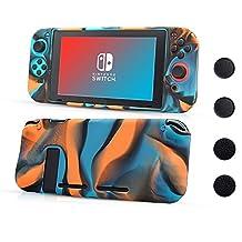 CHIN FAI voor Nintendo Switch-hoes, antislip siliconen beschermhoes met 4-delige duimstokgrepen, schokabsorptie en antikrasontwerp voor Nintendo Switch (Camouflage Rood)