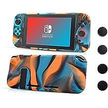 CHIN FAI Custodia per Nintendo Switch, Cover Protettiva in Silicone Silicon e Anti-Slip con 4pcs Impugnature per thumbsticks, Design Anti-graffio e Anti-graffio per Nintendo Switch (Tarnungsfarbe)