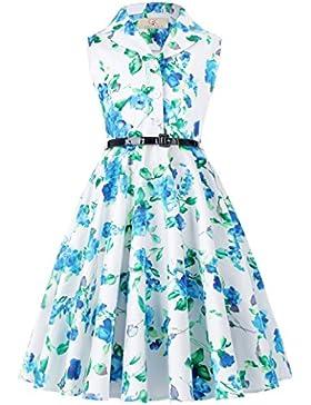 Maedchen aermellos Blumen Kleid Ballkleid 6-7 jahre CL9000-6
