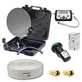 PremiumX Mini Sat Antenne Kleine Schüssel Digital Spiegel mit 4K UHD HDTV LNB LCD Sat Finder 10 Meter Kabel im Koffer für Camping Balkon Oder Garten