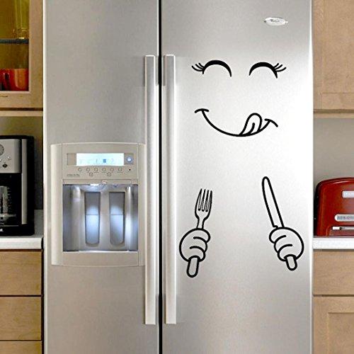 Niedlicher Aufkleber Kühlschrank Glücklich Köstlich Gesicht Küche Kühlschrank Wand Kühlschrank Vinyl Aufkleber Kunst Mauer Abziehbild Wohnkultur Von Manadlian (Schwarz)