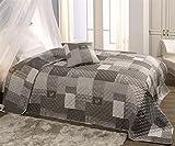WOMETO XXL Tagesdecke Landhaus-Stil Patchwork Grau 220x240, Wattiert und Gesteppt, Überwurf im Trend-Design