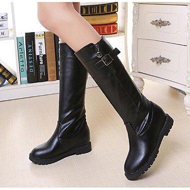 RTRY Donna Moda Tacchi Stivali Pu Molla Moda Casual Boots Marrone Bianco Nero 5In &Amp; Oltre US6.5-7 / EU37 / UK4.5-5 / CN37