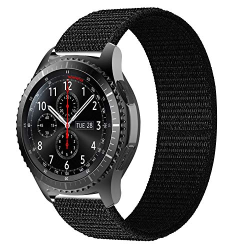 iBazal 22mm Armband Nylon Gewebte Klettband Armbänder Uhrenarmband Ersatz für Samsung Galaxy Watch 46mm,Gear S3 Frontier/Classic,Huawei GT/2 Classic/Honor Magic,Ticwatch Pro Herren Uhrarmband -Schwarz