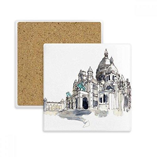 DIYthinker Sacre-Coeur in Paris Frankreich Platz Coaster-Schalen-Becher-Halter Absorbent Stein für Getränke 2ST Geschenk Mehrfarbig Paris Coaster