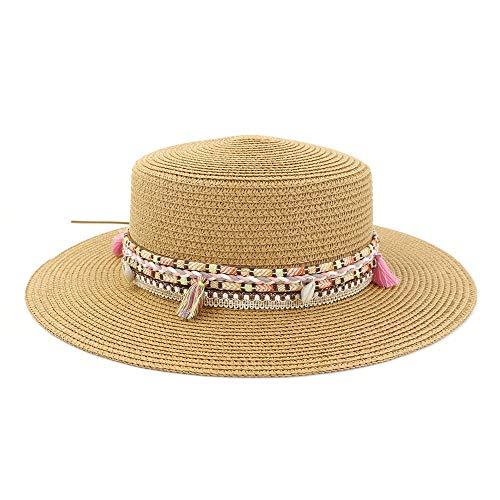 HuiLai Zhang Damen Flat Top Sonnenhut Outdoor Meer Tourismus Urlaub Strand Visier Farbe Quaste Woven Belt Fashion Beach Hat (Color : Khaki, Size : 56-58CM) -