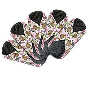 Dutchess reusable sanitary panty liners - These cloth menstrual sanitary pads have a charcoal absorbency layer to avoid leaks, odors and stains - regular medium period flow bamboo 5 pack set