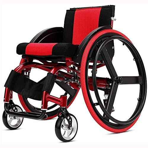 HWZLOIK Rollstuhl, Sport und Freizeit Rollstuhl Folding Licht Portable mit Ultra Light Aluminiumlegierung Schnellspanner Hinterrad Stoßdämpfer Trolley