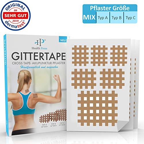Gittertape Cross Tape - Original Health Press - Größe Mix - Gitterpflaster Akupunkturpflaster mit ausführlicher E-Book Anleitung zum Download