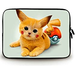 Populaire conçu Art Kitty Pokémon Yeux Rouge Pikachu Toile imperméable Tissu 1333,8cm Laptop Sleeve Sac Coque (Twin sides)