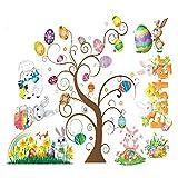 Dosige Oeuf de Pâques Arbre Lapin Stickers muraux Chambre Salon Salon Chambre Stickers Chambre pour Enfants Fond Mur Size 40x30cm