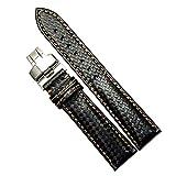 pelle nera finitura in fibra di carbonio di alta qualità ultrasottile cinturini cinghie 22 millimetri sostituzione per gli uomini
