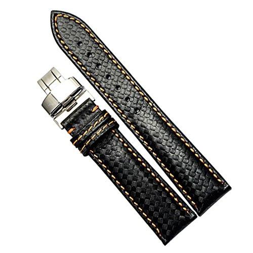 AUTULET Herren Leder Uhrarmband Schwarz Mit Gelben Nähten 20mm -