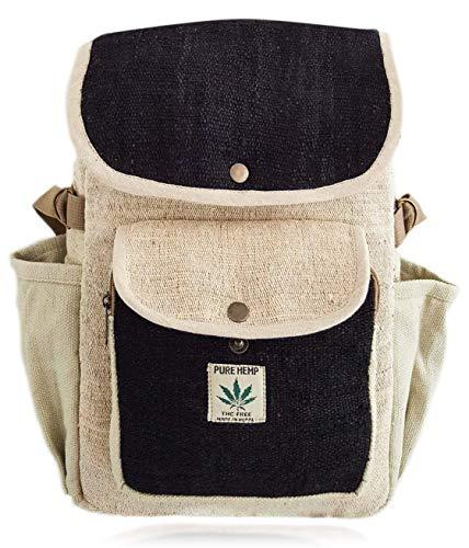 BeHemppy 100% Pure Hanf Rucksack/Tasche/Daypack mit Laptop-Hülle aus Nepal, Unisex (Black Whole)