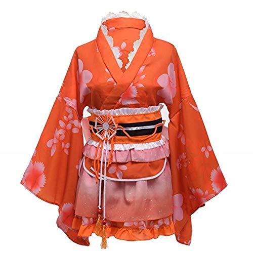 Double Villages Japanischen Stil Kimono Bademantel Kleid Anime Cosplay YUKATA Serie Japanischen Sommer Nette Mädchen Anime Cosplay Kostüme (Orange)