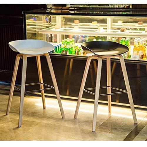 Wisdom Moderner minimalistischer Barhocker Vollholzbarhocker kreativer Barstuhl beiläufiger Designerhocker Nordischer Vorderschreibtischstuhl,Weiß