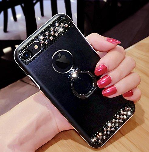 Case per iPhone 6S,Cover per iPhone 6 ,Bonice Ultra Slim Diamante Bling Glitter Lusso Specchio Cristallo Strass Morbida Rubber Bumper 360 Gradi [Rotazione Grip Ring Kickstand] con Supporto Dellanello Black