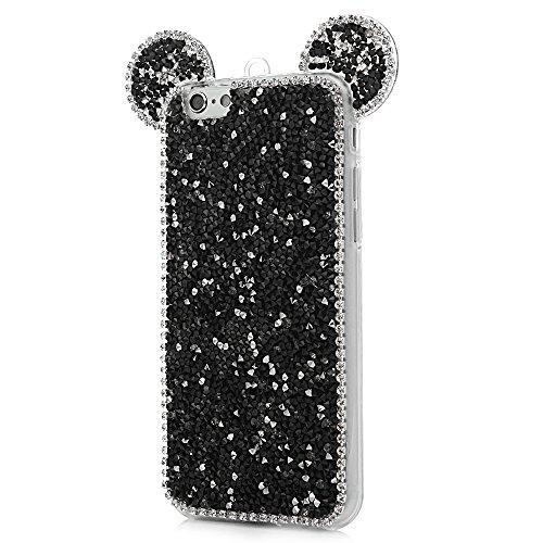 iPhone 6S Plus Cover Silicone 3D Strass Bling Glitter Brillanti, iPhone 6 Plus Custodia Morbida TPU Flessibile Gomma - MAXFE.CO Case Ultra Sottile Cassa Protettiva per iPhone 6 Plus / 6S Plus - Nero Nero