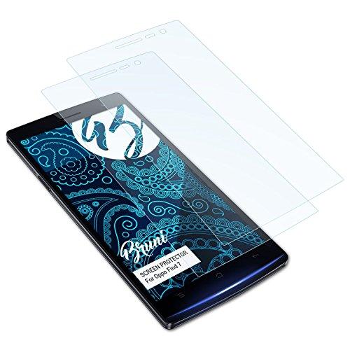 Bruni Schutzfolie kompatibel mit Oppo Find 7 Folie, glasklare Bildschirmschutzfolie (2X)