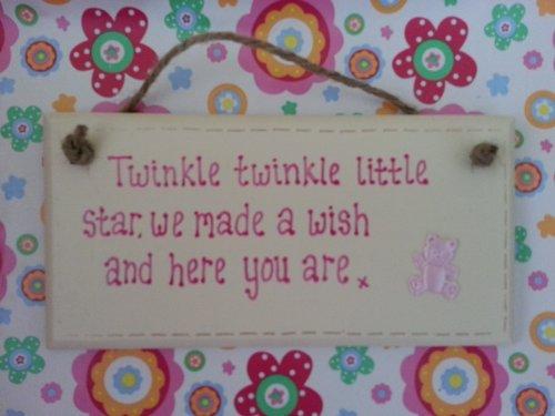 Handgefertigt Shabby Chic Twinkle Twinkle Gedicht Baby mädchen Geburt Schild Geschenk Taufe