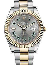 Rolex Datejust setzt II 2Stahl & Gelb Gold Watch grau und grün Zifferblatt 116333ungetragen