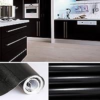 KINLO Papier Peint Adhésifs Décoration Cuisine Autocollant Rouleau 5 x 0,61 m Stickers Mural Porte Film Vinyle pour Meuble Frigo Placard Armoire - Noir