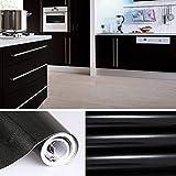 KINLO schwarz glanz Möbelfolie 5x0.61M PVC Klebefolie Küchenschrank Aufkleber Selbstklebend Küchenfolie Deko Plotterfolie