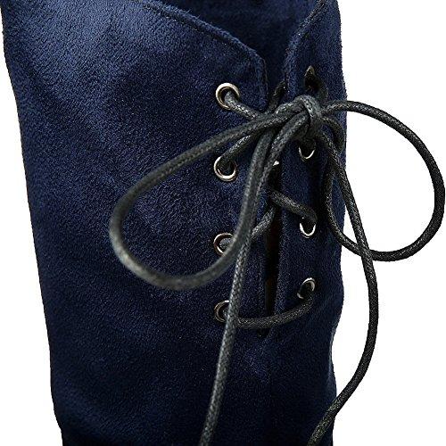 AllhqFashion Damen Mittler Absatz Rein Rund Zehe Schnüren Stiefel mit Metallisch Blau