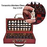 Klassische chinesische Retro Terrakotta-Krieger-Schach-Weinlese-Hand, die Harz-Schachfiguren Ming und Qing-Dynastie chinesisches Terrakotta-Krieger-Schach für Geschenk schnitzt