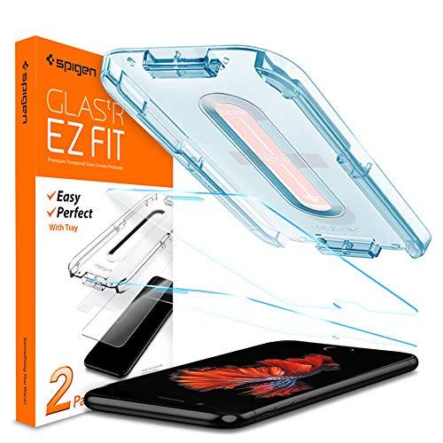 Spigen, 2Stück, EZ Fit Panzerglas Schutzfolie kompatibel mit iPhone 7 Plus / 8 Plus, mit Installationhilfe, 9H gehärtes Glas, Hüllenfreundlich, iPhone 7 Plus / 8 Plus Panzerglasfolie (055GL22383)