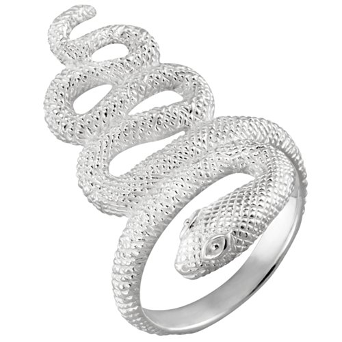 Vinani Ring Schlange mattiert glänzend massiv breit verschlungen Sterling Silber 925 Schlangenring Größe 56 (17.8) ROC56