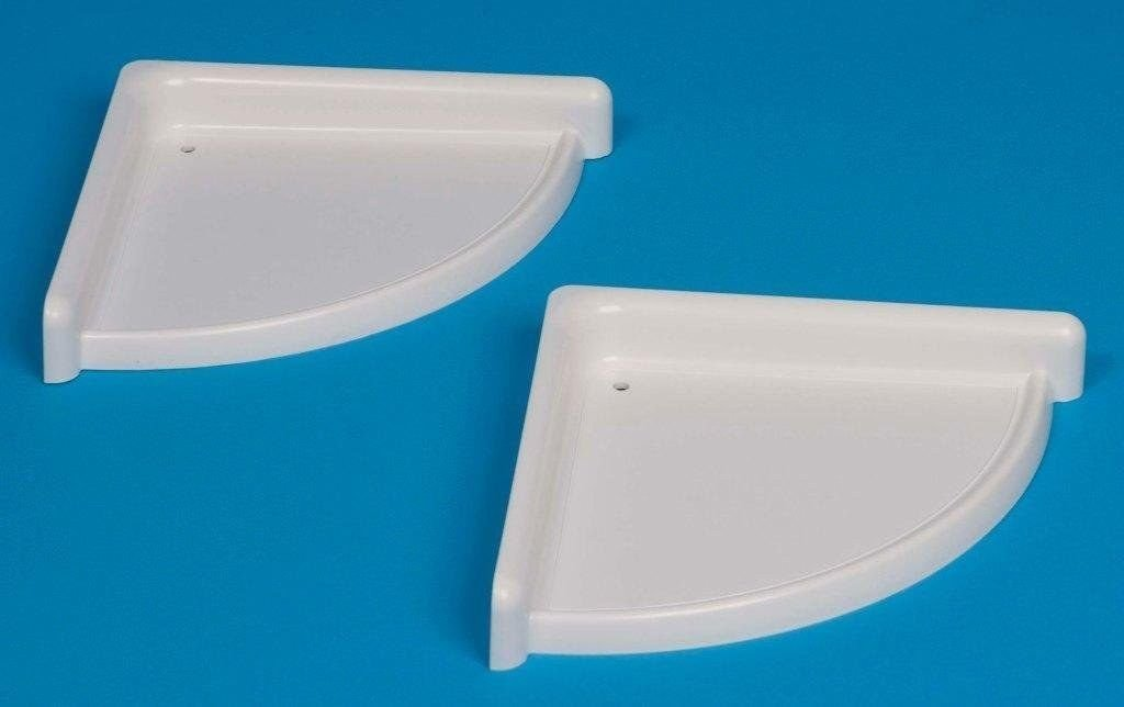 WHITE ! PLASTIC SET OF 2 BATHROOM CORNER SHELF/RACK HEAVY DUTY ...