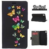 BeCool® - Custodia a Libro [Funzione di supporto] Asus Zenfone Live ZB501KL, protegge e si adatta alla perfezione al tuo Smartphone e oltrettutto ha il nostro disegno esclusivo. Farfalle colorate che volano.