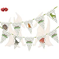 PARTY DECOR Jurassic Collection - Dinosaurs Mix Happy Birthday Theme Bunting Banner 15 Flags For Guaranteed Stylish Amazing party decoration