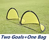 PodiuMax Durable Flash Pop Up Football Goal (2 Goals + 1 Bag), Size 4ft and 6ft,Black/Yellow