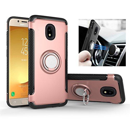 Galaxy J5 2017 (J530) Hülle, [360°Kickstand] Ring Rüstung Handyhülle [Magnetic Car Mount] Dual Shockproof Luftpolster-Technologie Schutzhülle Case Rexang Cover für Samsung (Galaxy J5 2017, Rose Gold) -