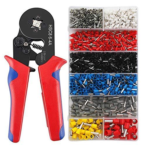 Crimpzangen Aderendhülsen Set KYG Aderendhülsenzange für 0.25-10mm² isolierte und unisolierte Kabelschuhe Crimpwerkzeug Set inkl. 1200er Kabelschuhe