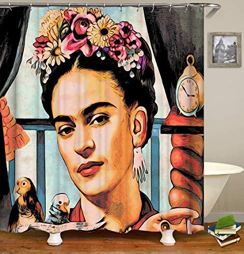 dsgrdhrty Vintage Pintura Frida Retrato Reloj Despertador Loro y barandilla HD fácil de Limpiar la Cortina de Ducha