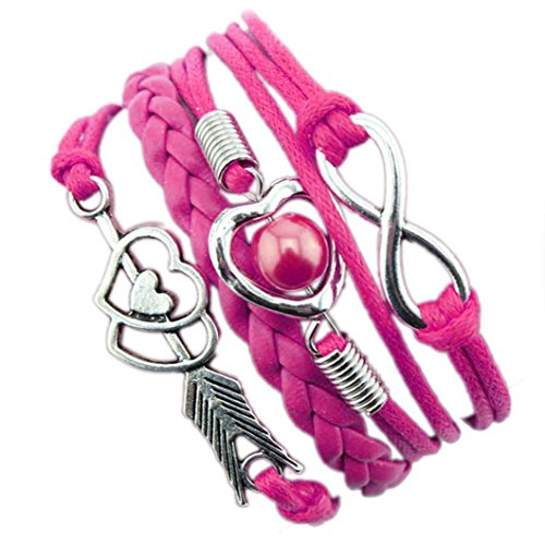 DAY.LIN Armband Damen Armbänder 1PC Unendlichkeits-Liebes-Herz-Perlen-Freundschafts-Antike-Leder-Charme-Armband (E) (Swarovski-charme-armband)