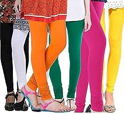 Vatsla Women's Cotton Leggings Combo (Pack of 6) (VHMJ6CMBFree Size_Multi Color)