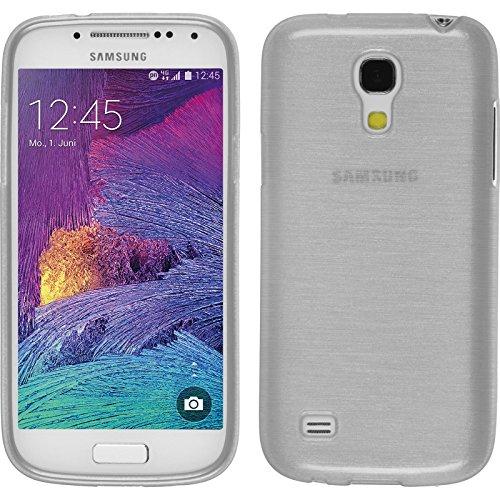 Funda de silicona para Samsung Galaxy S4 Mini Plus I9195 - brushed blanco - Cover PhoneNatic Cubierta + protector de
