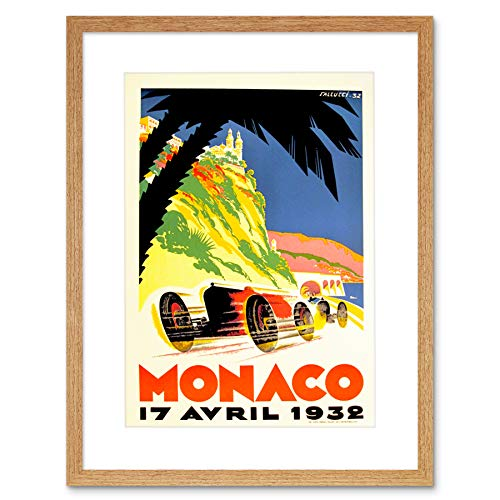 VINTAGE ADVERT TRANSPORT MANACO RACING GRAND PRIX FRAMED ART PRINT B12X11564