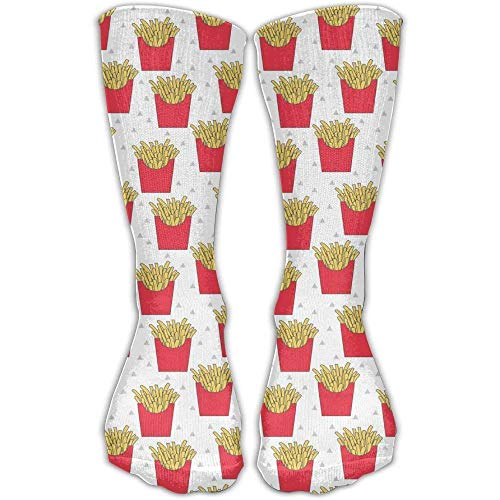 ruishandianqi Unisex French Fries Cl High Athletic Stockings Long Socks Sports Outdr One Size 30cm for Men Women